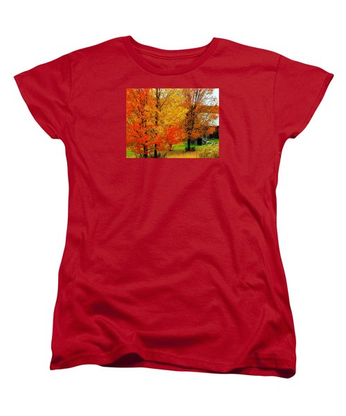 Women's T-Shirt (Standard Cut) featuring the photograph Autumn Trees By Barn by Rodney Lee Williams