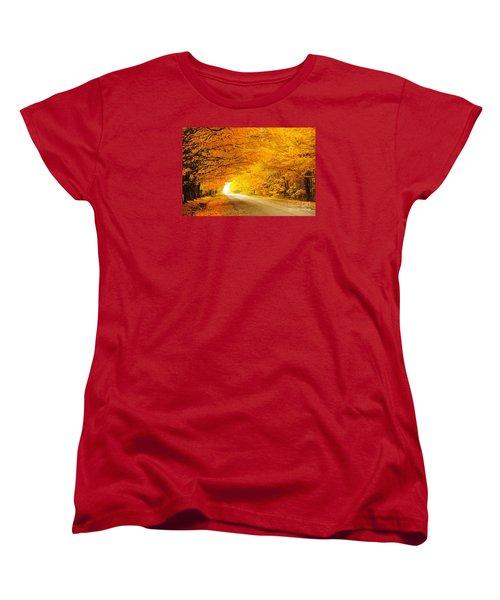 Autumn Tunnel Of Gold 8 Women's T-Shirt (Standard Cut) by Terri Gostola