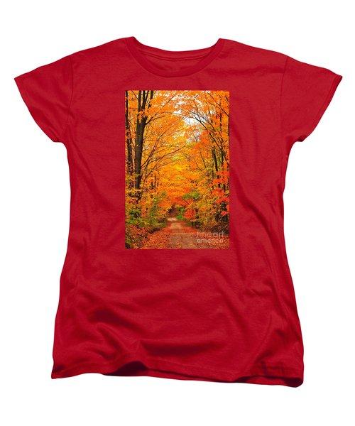 Autumn Tunnel Of Trees Women's T-Shirt (Standard Cut) by Terri Gostola