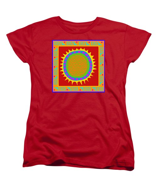 Women's T-Shirt (Standard Cut) featuring the digital art Aztec Del Sol by Vagabond Folk Art - Virginia Vivier