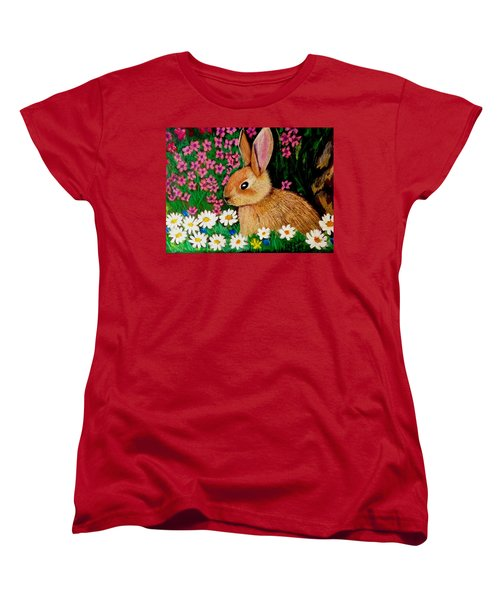 Baby Bunny In The Garden At Night Women's T-Shirt (Standard Cut) by Renee Michelle Wenker