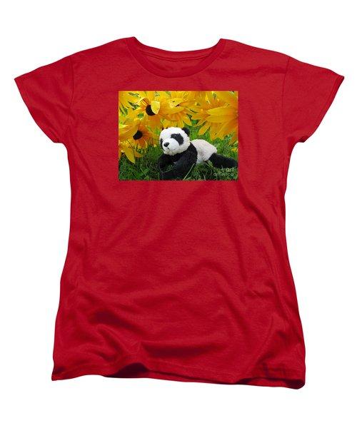 Women's T-Shirt (Standard Cut) featuring the photograph Baby Panda Under The Golden Sky by Ausra Huntington nee Paulauskaite