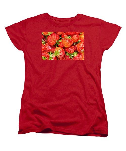 Women's T-Shirt (Standard Cut) featuring the photograph Background Of Strawberries by Kennerth and Birgitta Kullman