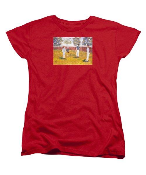 Women's T-Shirt (Standard Cut) featuring the painting Backyard Cricket Under The Hot Australian Sun by Pamela  Meredith