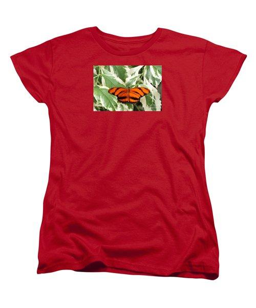 Banded Orange Longwing Butterfly Women's T-Shirt (Standard Cut) by Judy Whitton