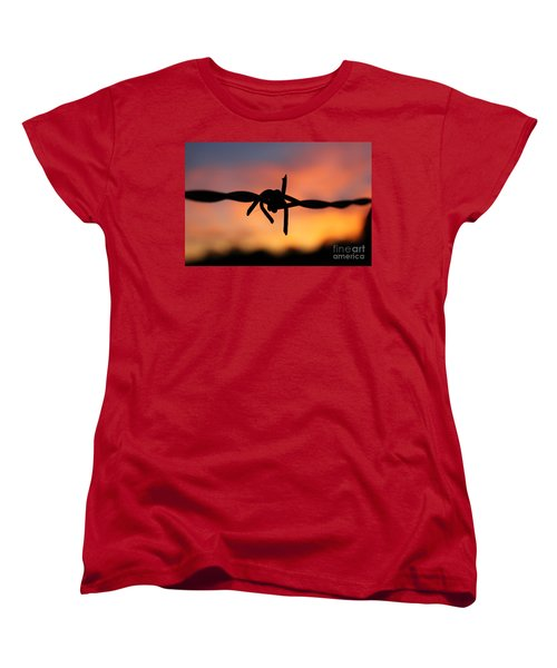 Women's T-Shirt (Standard Cut) featuring the photograph Barbed Silhouette by Vicki Spindler