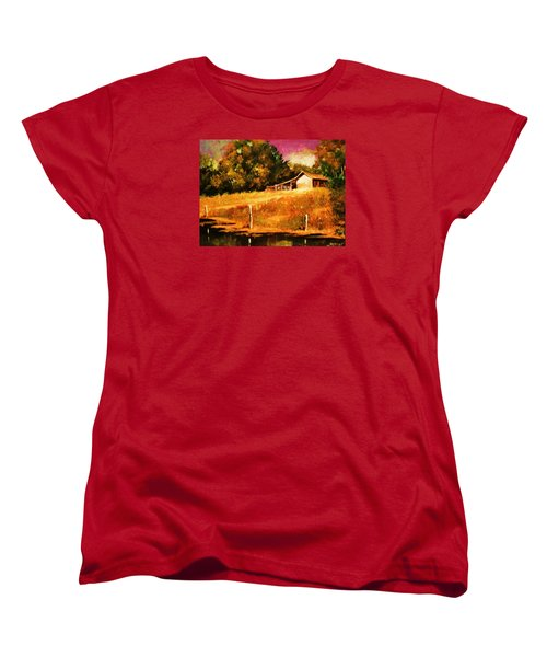 Women's T-Shirt (Standard Cut) featuring the painting Barn Above The Creekbed by Al Brown