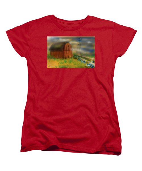 Women's T-Shirt (Standard Cut) featuring the painting Barn by Marisela Mungia