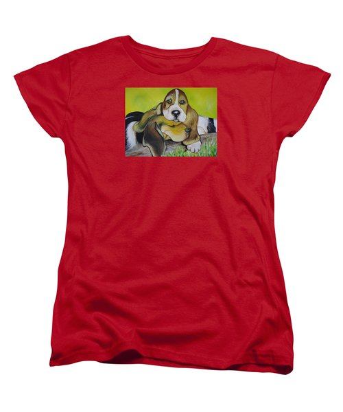 Women's T-Shirt (Standard Cut) featuring the painting Bassett Hound Pups by Leslie Manley