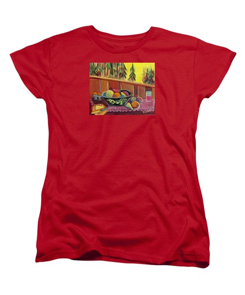 Women's T-Shirt (Standard Cut) featuring the painting Bavarian Breakfast With Strawberry Milk by Betty Pieper