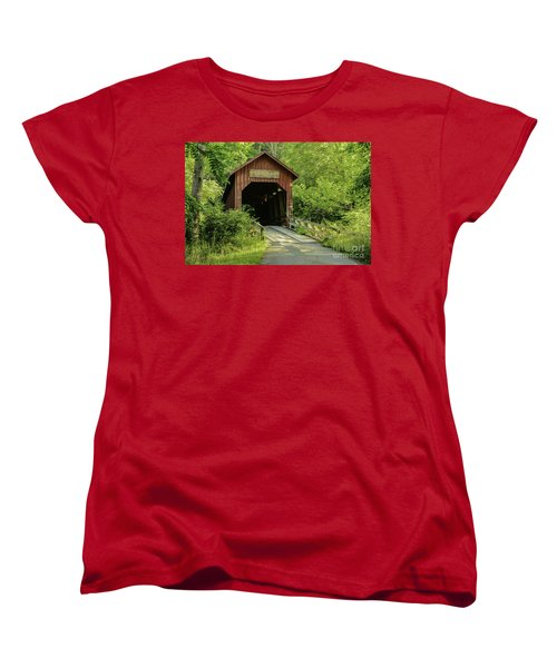 Bean Blossom Covered Bridge Women's T-Shirt (Standard Cut) by Mary Carol Story