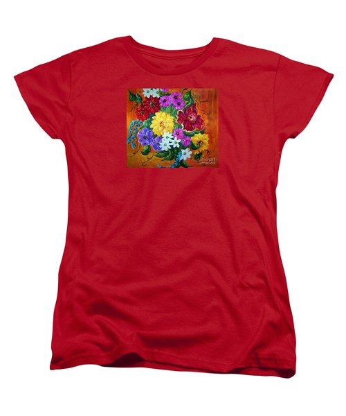 Women's T-Shirt (Standard Cut) featuring the painting Beauties In Bloom by Eloise Schneider