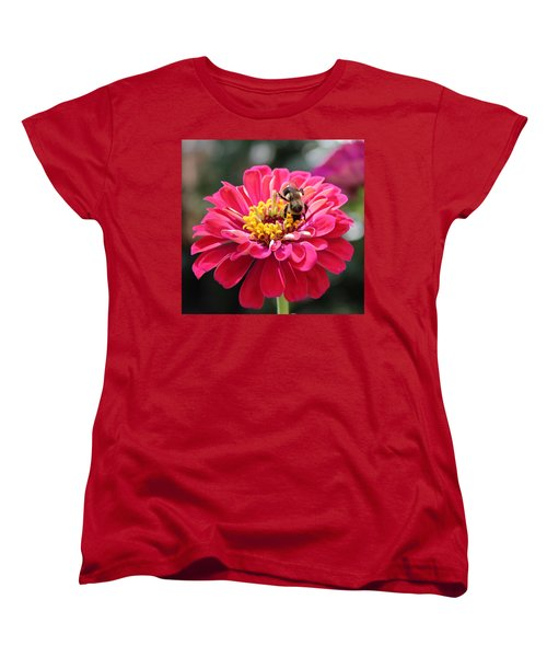 Women's T-Shirt (Standard Cut) featuring the photograph Bee On Pink Flower by Cynthia Guinn
