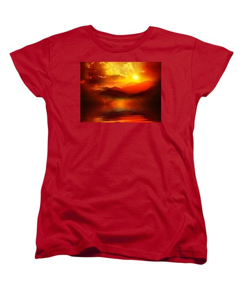 Women's T-Shirt (Standard Cut) featuring the mixed media Before The Sun Goes To Sleep by Gabriella Weninger - David