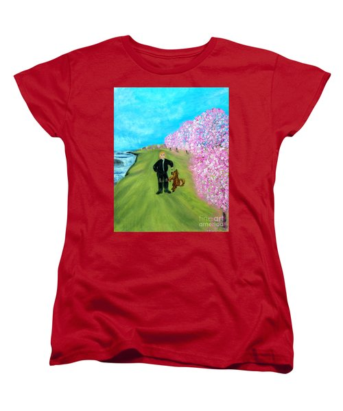 Women's T-Shirt (Standard Cut) featuring the painting Best Friends. Painting. Promotion by Oksana Semenchenko
