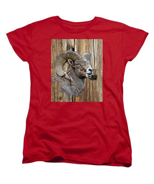 Bighorn Sheep Barnwood Women's T-Shirt (Standard Cut) by Steve McKinzie