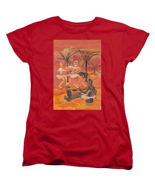 Women's T-Shirt (Standard Cut) featuring the painting Bikutsi Dance From Cameroon by Emmanuel Baliyanga