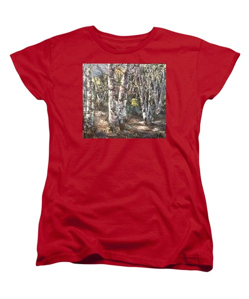 Women's T-Shirt (Standard Cut) featuring the painting Birches by Megan Walsh