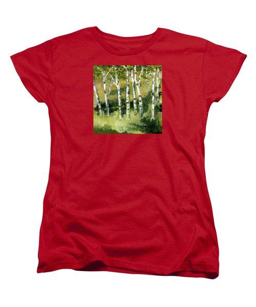 Birches On A Hill Women's T-Shirt (Standard Cut) by Michelle Calkins