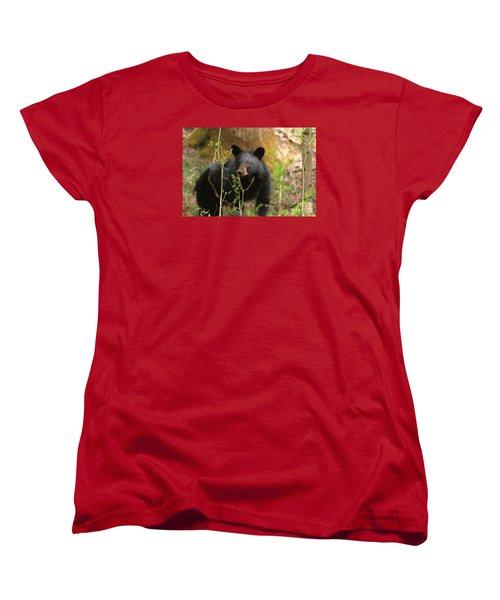 Women's T-Shirt (Standard Cut) featuring the photograph Black Bear by Geraldine DeBoer