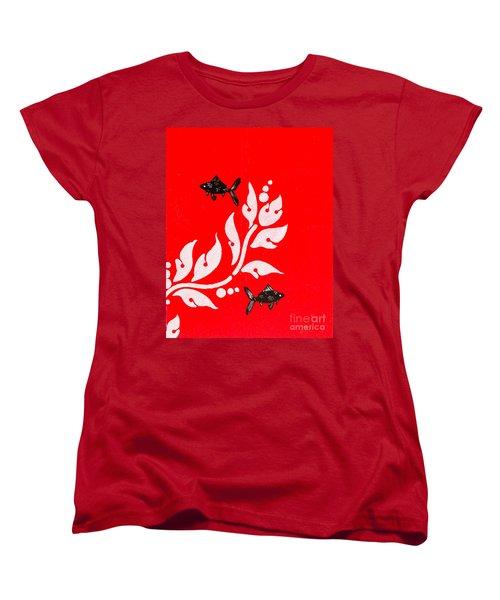 Black Fish Left Women's T-Shirt (Standard Cut) by Stefanie Forck