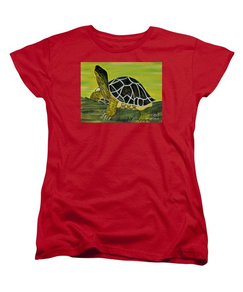 Women's T-Shirt (Standard Cut) featuring the painting Black Turtle. Inspirations Collection. by Oksana Semenchenko