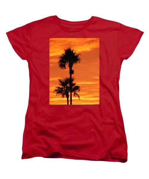 Women's T-Shirt (Standard Cut) featuring the photograph Blazing Sunset by Deb Halloran