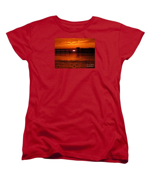 Women's T-Shirt (Standard Cut) featuring the photograph Blazing Sunset by Vicki Spindler