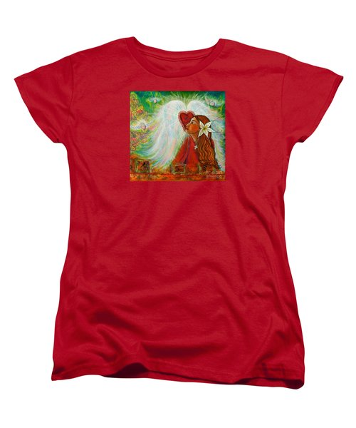 Women's T-Shirt (Standard Cut) featuring the painting Blessed Visit  by Deborha Kerr