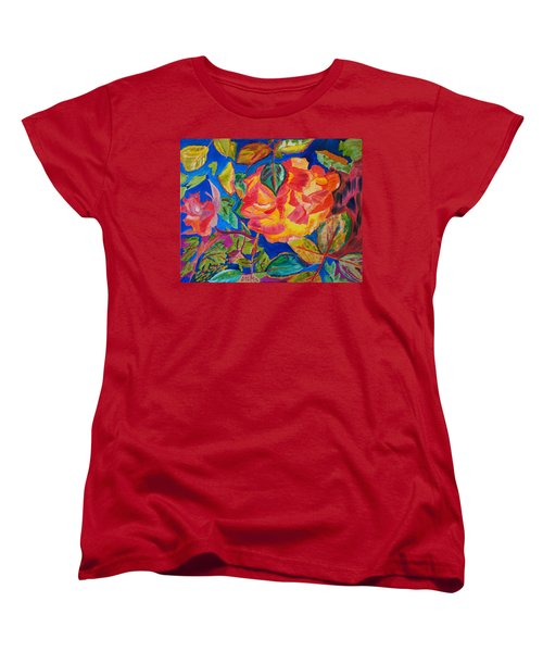Women's T-Shirt (Standard Cut) featuring the painting Blossoms Aglow by Meryl Goudey