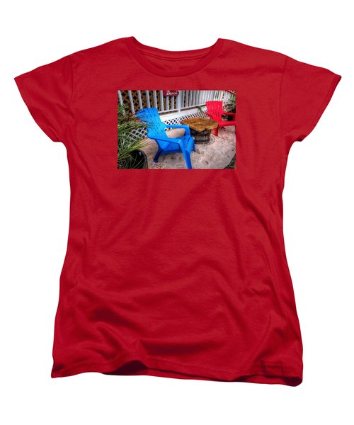 Women's T-Shirt (Standard Cut) featuring the digital art Blue And Red Chairs by Michael Thomas