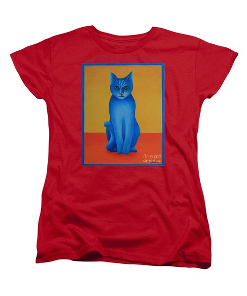Women's T-Shirt (Standard Cut) featuring the painting Blue Cat by Pamela Clements