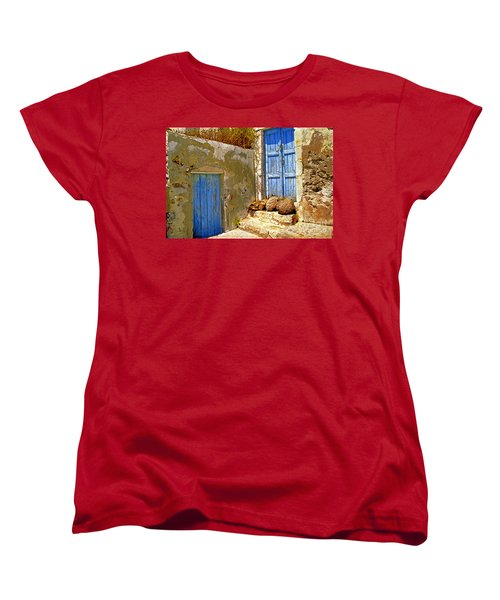 Blue Doors Of Santorini Women's T-Shirt (Standard Cut) by Madeline Ellis