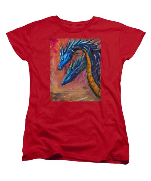 Blue Dragons Women's T-Shirt (Standard Cut) by Yulia Kazansky
