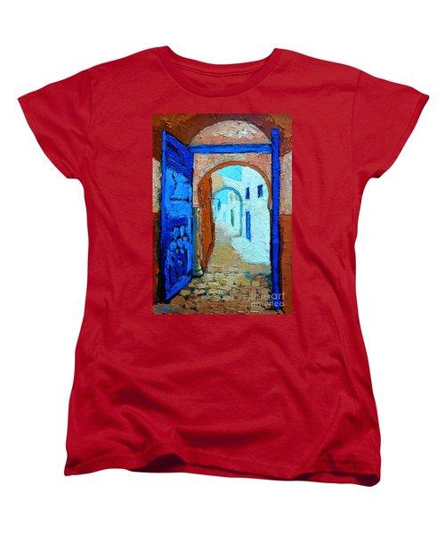 Women's T-Shirt (Standard Cut) featuring the painting Blue Gate by Ana Maria Edulescu