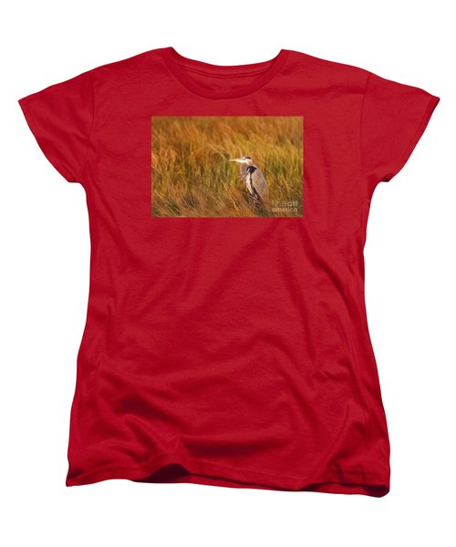 Women's T-Shirt (Standard Cut) featuring the photograph Blue Heron In Louisiana Marsh by Luana K Perez