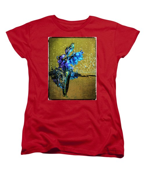Women's T-Shirt (Standard Cut) featuring the mixed media Bluebells In Water Splash by Peter v Quenter