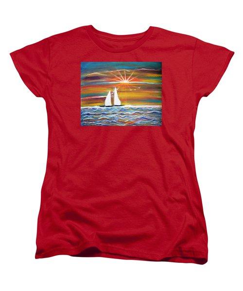 Boats At Sunset Women's T-Shirt (Standard Cut)