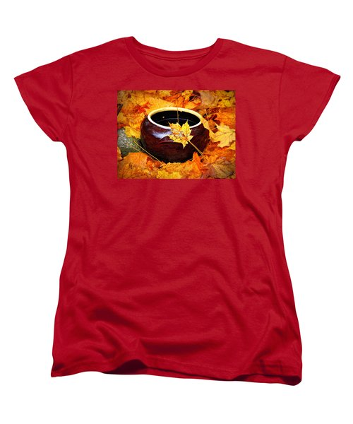 Women's T-Shirt (Standard Cut) featuring the photograph Bowl And Leaves by Rodney Lee Williams