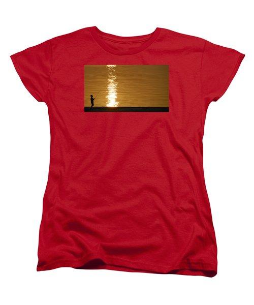 Boy Fishing At Sunset Women's T-Shirt (Standard Cut) by Charles Beeler