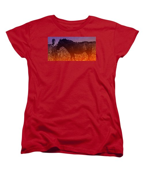 Women's T-Shirt (Standard Cut) featuring the digital art Boy With Horse by Cathy Anderson