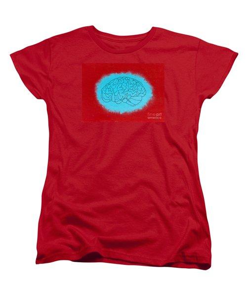 Brain Blue Women's T-Shirt (Standard Cut) by Stefanie Forck