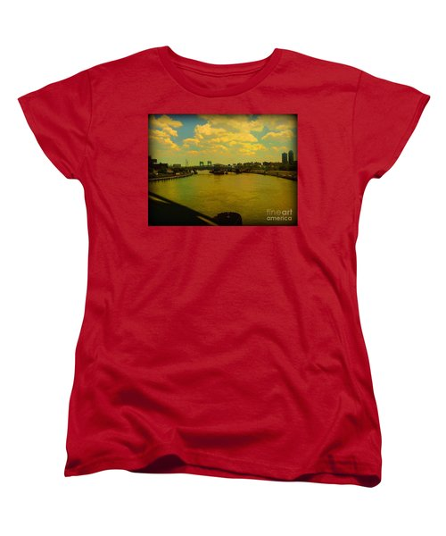 Women's T-Shirt (Standard Cut) featuring the photograph Bridge With Puffy Clouds by Miriam Danar