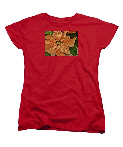Bronze Poinsettia 3 Women's T-Shirt (Standard Cut) by VLee Watson