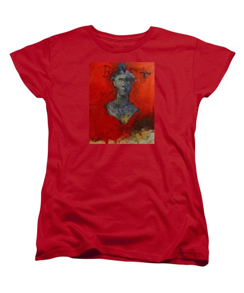 Women's T-Shirt (Standard Cut) featuring the painting Bust Ted - With Sawdust And Tinsel  by Cliff Spohn