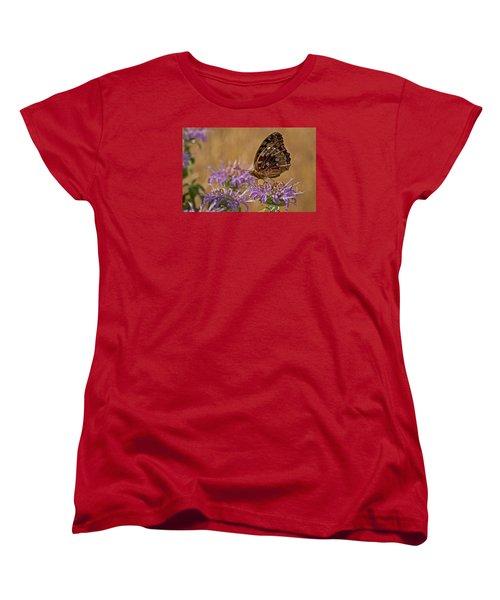 Butterfly On Bee Balm Women's T-Shirt (Standard Cut) by Shelly Gunderson