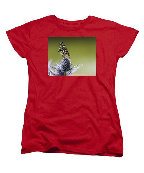 Women's T-Shirt (Standard Cut) featuring the photograph Butterfly On Thistle by Peter v Quenter