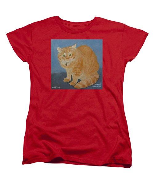 Butterscotch The Cat Women's T-Shirt (Standard Cut) by Mini Arora