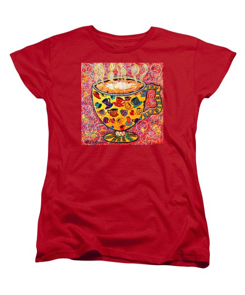 Cafe Latte - Coffee Cup With Colorful Coffee Cups Some Pink And Bubbles  Women's T-Shirt (Standard Cut) by Ana Maria Edulescu
