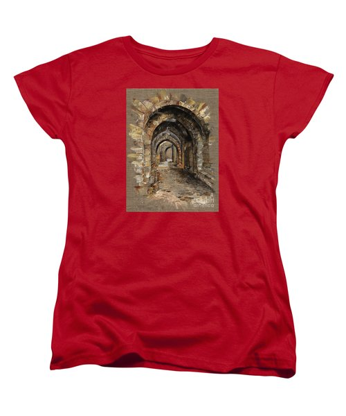 Women's T-Shirt (Standard Cut) featuring the painting Camelot -  The Way To Ancient Times - Elena Yakubovich by Elena Yakubovich